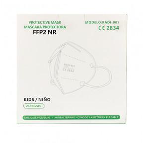 Caixa com 25 Máscara infantil FFP2 padrão EN149: 2001 filtro respiratório com marcação CE