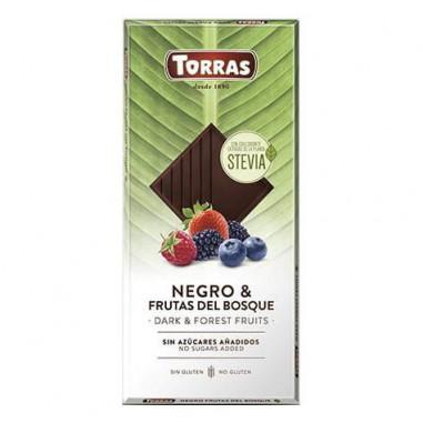 Chocolat Noir aux Fruits des Bois et Stevia Torras 125g