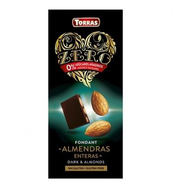 Chocolat Noir aux Amandes Entières sans Sucre Torras 150g
