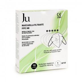 Caixa com 10 Máscaras JU FFP2 padrão EN149: 2001+ A1:2009 filtro respiratório com marcação CE