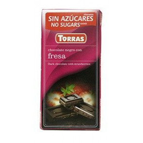 Black Chocolate with Strawberries Sugar Free 75 g Torras