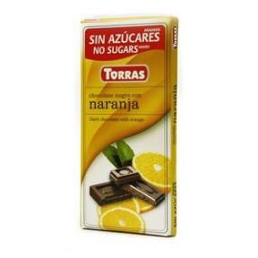 Chocolate Negro con Naranja Sin Azúcar Torras 75 g