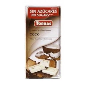 Chocolate Branco com Coco Sem Açúcar Torras 75 g