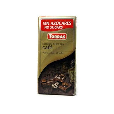 Dark Chocolate with Coffee Sugar Free Torras 75g