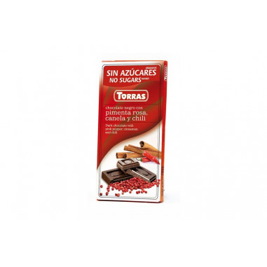 Black Chocolate with Pink Pepper, Cinnamon and Chili Sugar Free Torras 75g