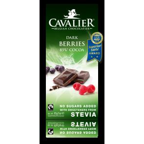 Chocolate Negro Belga con estevia y Frutos del bosque 85 g Cavalier