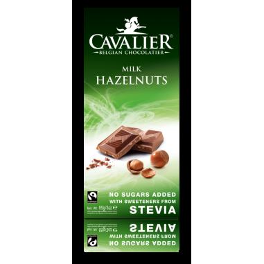 Cavalier Belgium milk Chocolate with hazelnuts and stevia 85 g