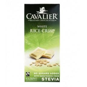 Chocolate belga branco com arroz crocante com estévia 85 g Cavalier