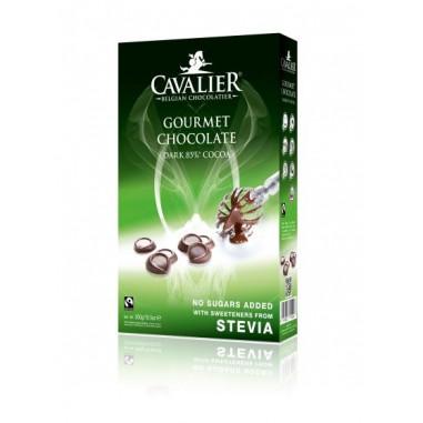 Belgian Gourmet Dark Chocolate Chips 85% with Stevia Cavalier 300 g