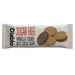 :Diablo Sugar Free Vanilla Sandwich Cookies with Cocoa Cream 44g (Single Pack)