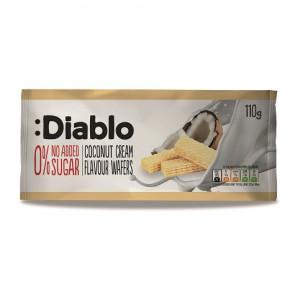 Barquillos Rellenos sabor Crema de Coco sin Azúcares Añadidos :Diablo 110 g