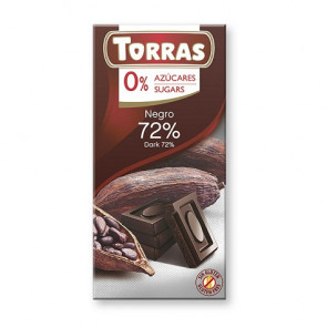 Black Chocolate 72% Cocoa Sugar Free Torras 75 g