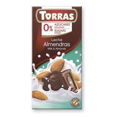 Chocolate con Leche y Almendras sin Azúcar Torras 75g