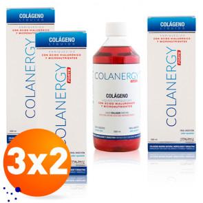 Pack 3 x 2 Colanergy Forte Colágeno com Ácido Hialurônico e Micronutrientes Xarope 500 ml
