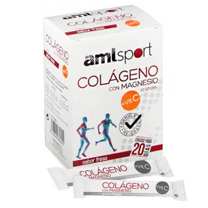 Colágeno Com Magnésio + Vitamina C Sabor Morango AMLsport 20 sticks