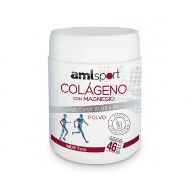 Colágeno Com Magnésio + Vitamina C + Vitaminas B1, B2 e B6 Pulverizado Sabor Morango AMLsport 350 g
