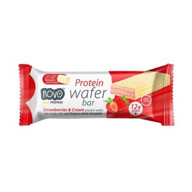 Protein Wafer Barquillos Crujientes Sabor Fresas con Nata 40g Novo Nutrition