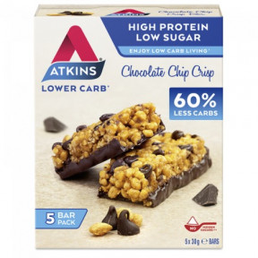 Barra de chocolate crocante com chips Atkins Daybreak 5x30g