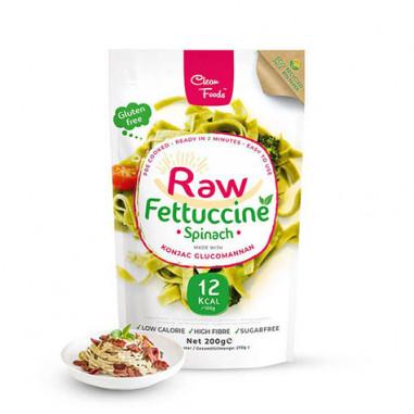 Raw Pasta Konjac Fettuccine Épinard Clean Foods 200 g