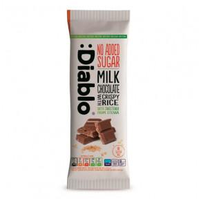 Tableta de chocolate con leche y arroz inflado con Stevia :Diablo 75 g