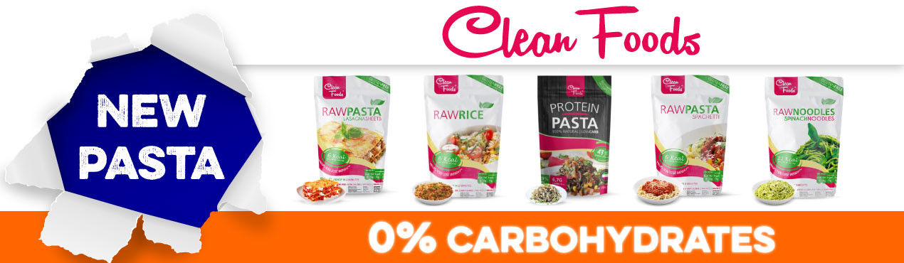 New pasta without carbohydrates Clean Foods, the brand in foods without carbohydrates that is sweeping in Europe. Enjoy and keep your diet!