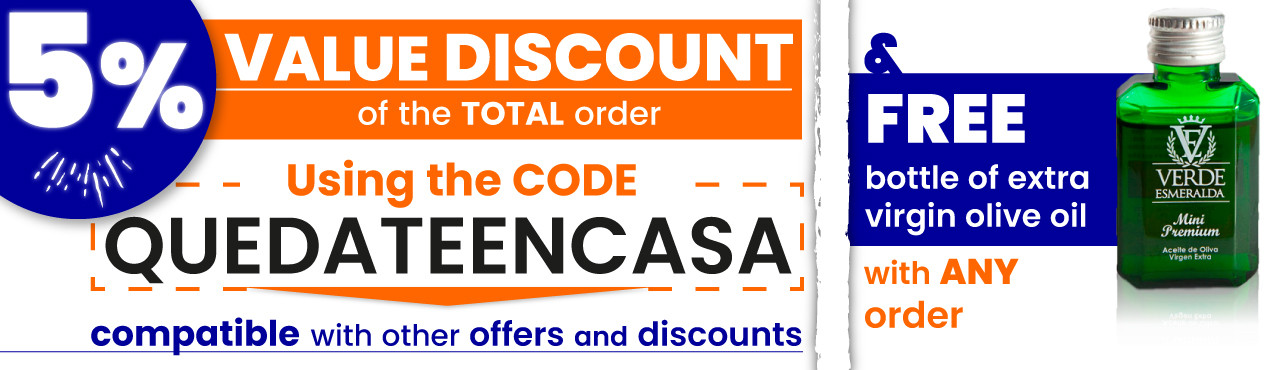Use the code QUEDATEENCASA to save 5 percent of the total of your order, also today you get a free bottle of Verde Esmeralda with your order
