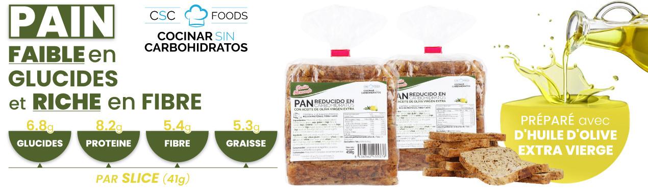 Pain et protéines à faible teneur en glucides et à haute teneur en fibres de CSC Foods, Cocinar sin Carbohidratos. Fabriqué avec des ingrédients 100% naturels et huile d'olive extra vierge. Si vous l'essayez, répétez.