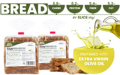 Low-carb and high-fiber bread and protein from CSC Foods, Cocinar sin Carbohidratos.